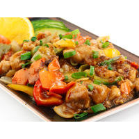 Chicken with vegetables in chinese Master sauce with anise and ginger