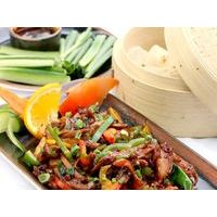 Peking (Beijing) style chicken with Chinese pancakes, cucumbers, spring onion and Peking sauce