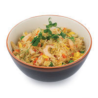 Mixed rice with chicken, shrimps, vegetables and egg