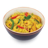 Mixed rice noodles with shrimps, chicken, vegetables and egg